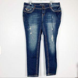 Amethyst | Skinny Jeans Distressed Heavy Stitching